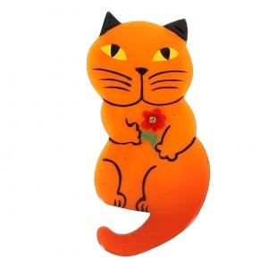 broche chat leon orange