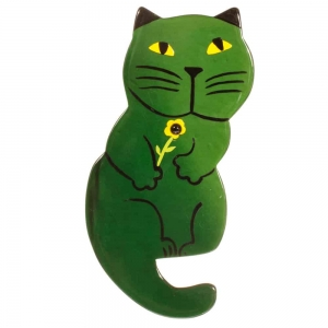broche chat leon vert