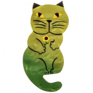 broche chat leon vert mousse