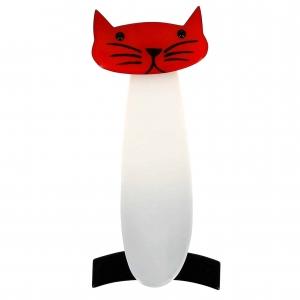 broche chat long blanc rouge noir