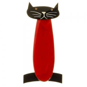 broche chat long rouge noir