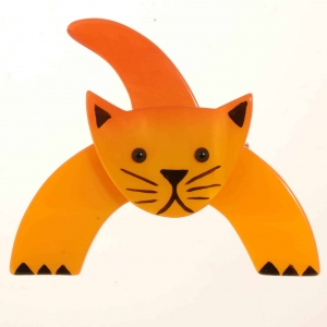 broche chat loulou jaune