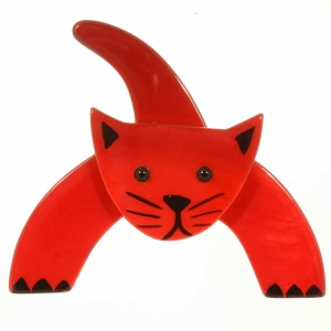 broche chat loulou rouge