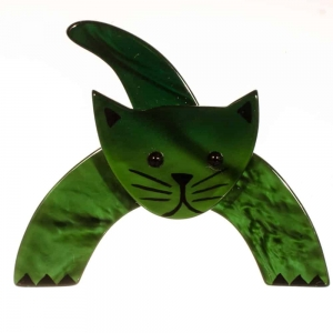 broche chat loulou vert