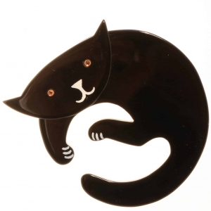 broche chat love noir