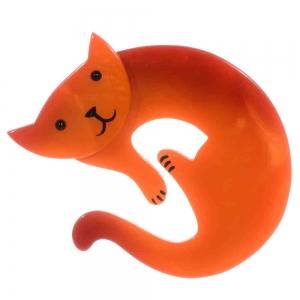 broche chat love orange