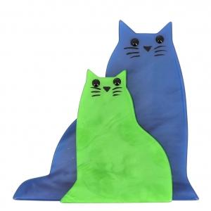 broche chat lovely bleu et vert