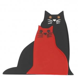 broche chat lovely noir et rouge
