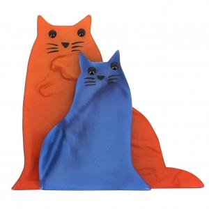 broche chat lovely roux et bleu