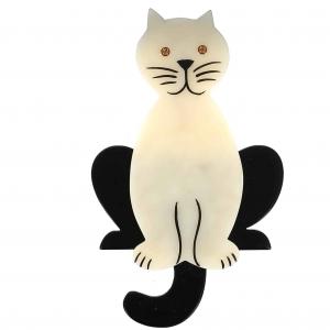 broche chat lucifer blanc