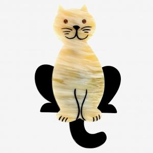 broche chat lucifer crème