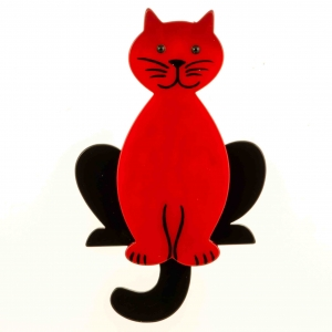 broche chat lucifer rouge