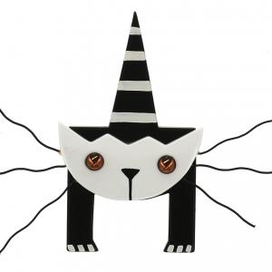 broche chat mascotte blanc 0000