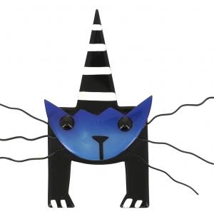 broche chat mascotte bleu 0000