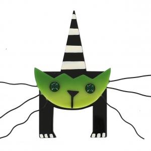 broche chat mascotte vert