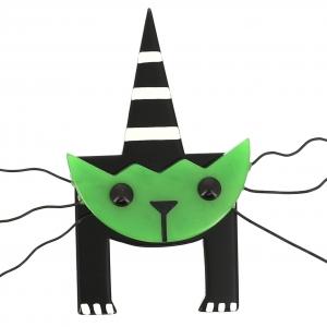 broche chat mascotte vert uni 0000
