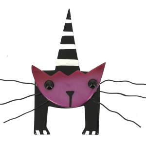 broche chat mascotte violet 0000