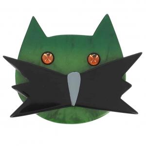 broche chat matou vert