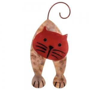 broche chat mirko beige et rouge