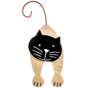 broche chat mirko blanc et noir