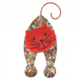 broche chat mirko brillant et rouge