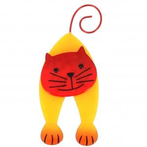 broche chat mirko jaune et rouge
