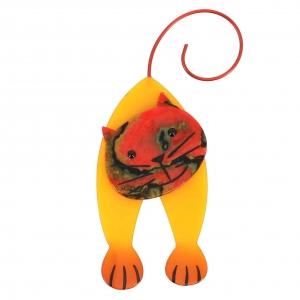 broche chat mirko jaune et rouge chamaré