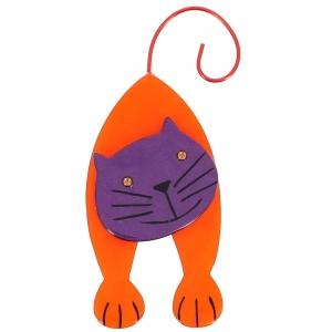 broche chat mirko orange et violet