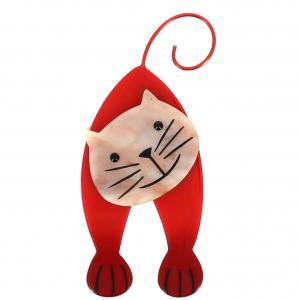 broche chat mirko rouge et beige