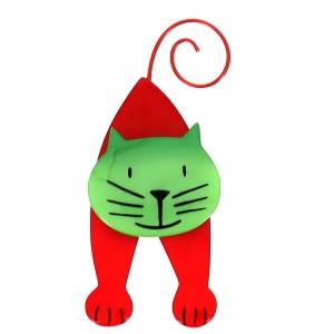 broche chat mirko rouge et vert