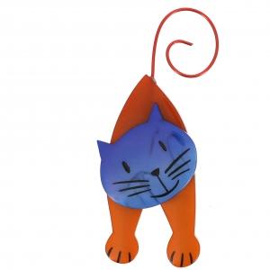 broche chat mirko roux et bleu