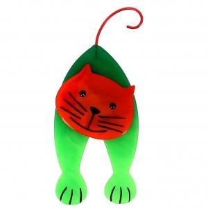broche chat mirko vert et roux