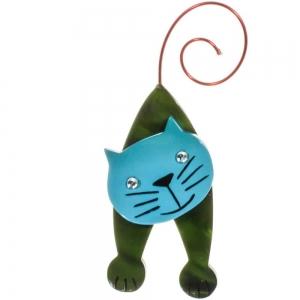 broche chat mirko vert et turquoise