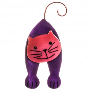 broche chat mirko violet et fuchsia