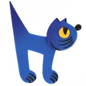 broche chat musico bleu