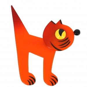 broche chat musico orange