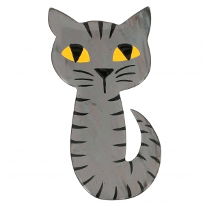 broche chat mystery gris