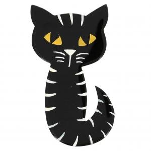 broche chat mystery noir