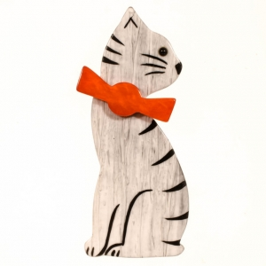 broche chat noeud blanc et gris