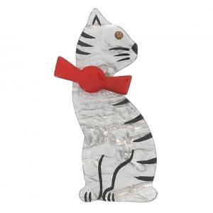 broche chat noeud gris nacre