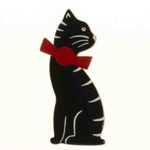 broche chat noeud noir