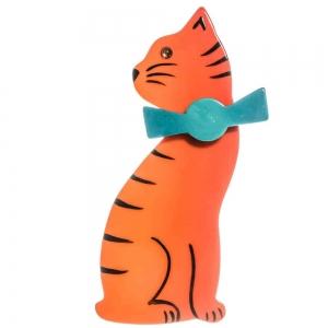 broche chat noeud orange