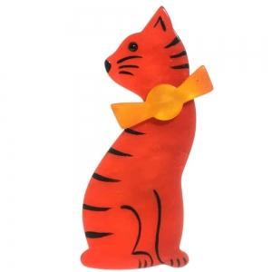 broche chat noeud rouge et jaune