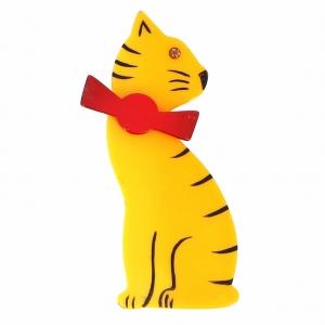 broche chat noeud safran