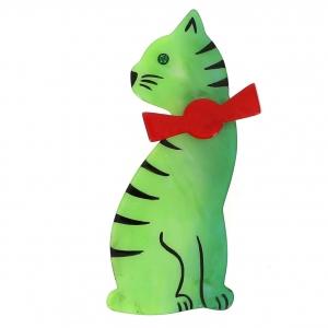 broche chat noeud vert clair et rouge