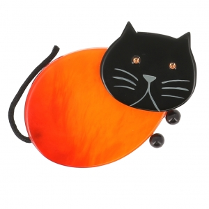 broche chat oeuf orange 1