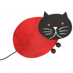 broche chat oeuf rouge 1