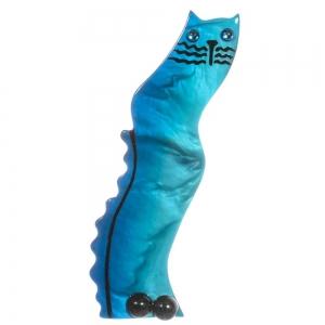 broche chat ondulo turquoise