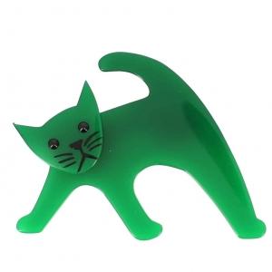 broche chat ouistiti vert vif