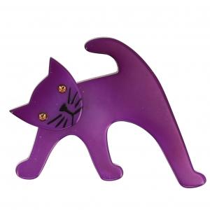 broche chat ouistiti violet